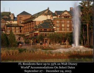 Florida residents frequently get special savings on hotel rooms at select Walt Disney World Resort hotels. Offers vary by season in terms of discount and availability but the Florida resident discount usually applies to most resorts and villas.