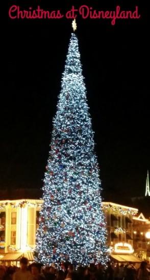 The beautiful Disneyland Christmas tree on Main Street USA