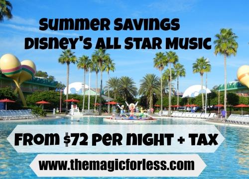 Disney's All Star Music Resort – Just $72 + tax per Night on Select Summer Travel Dates!