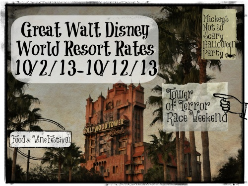 Great Walt Disney World Resort Rates for Tower of Terror Race Weekend and More!