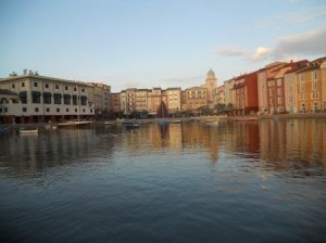 On the water taxi approaching the Portofino Bay Hotel