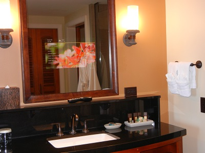 3-bedroom villa bath with TV in mirror
