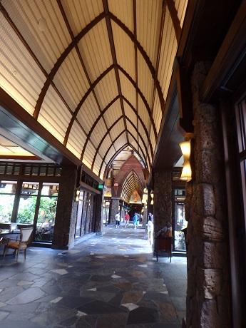 Lobby ceiling shaped like a canoe