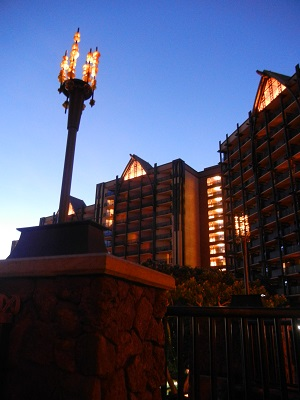 Nighttime at Aulani-see the arches at the top of each building