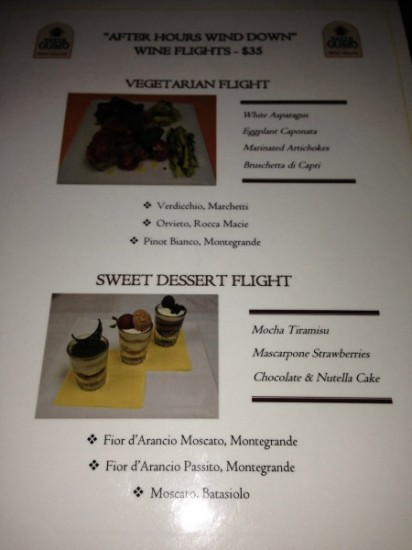 Wine pairing and tasting menu for Tutto Gusto