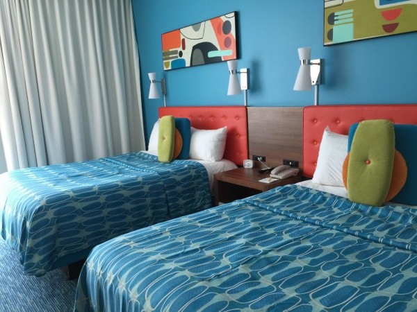 Colorful standard rooms with two queen size beds