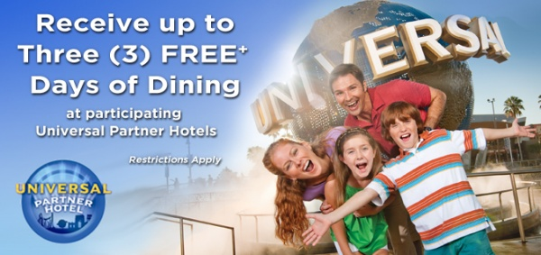 Up To Three Days of FREE Dining at Universal Partner Hotels