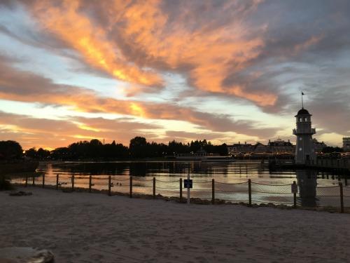 Beach Club Sunset over Boardwalk and Yacht Club