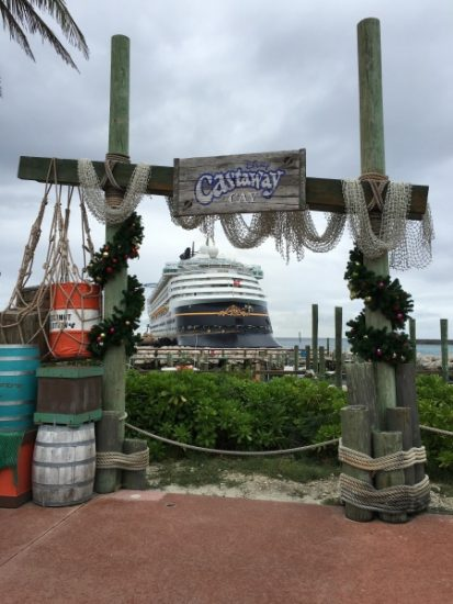 On Castaway Cay, garland is hung with care.