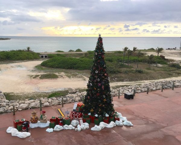Greeted at Castaway Cay with sunrise and a holiday tree adorned with tropical ornaments.