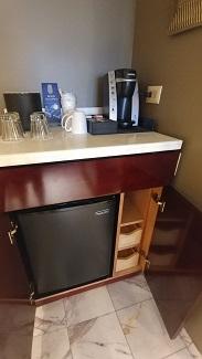Mini-fridge and coffee maker