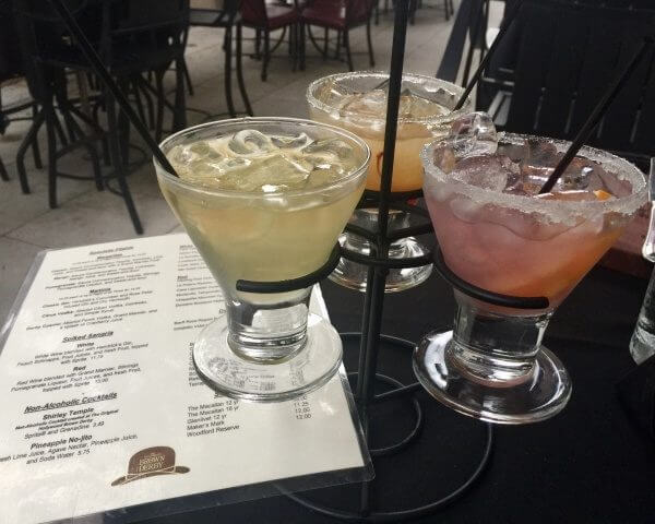 A fun thing to try as you sit outside and people watch and enjoy delicious food is the Margarita flight