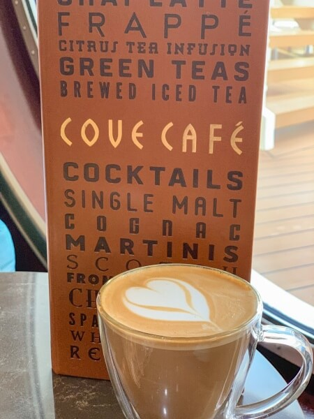 Cove Cafe Menu and Latte on Disney Cruise Line