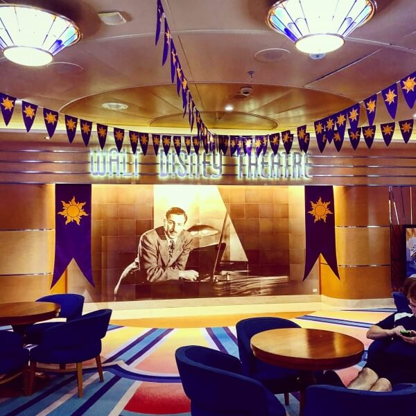 Walt Disney Theatre on the Disney Magic decorated for Tangled The Musical