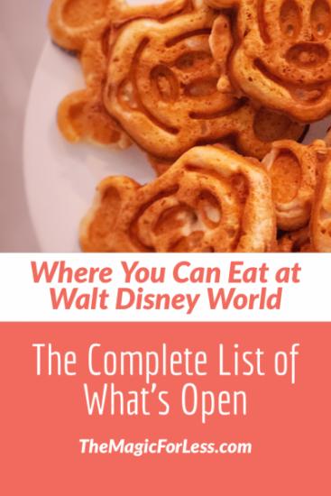 Dining Locations Open at Walt Disney World
