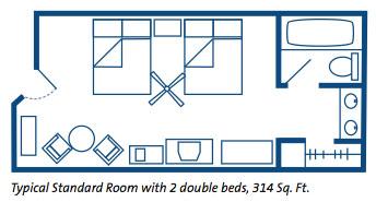 Disney's Port Orleans Riverside Resort Guest Room Layout