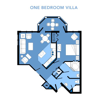 Vero Beach One Bedroom Villa Layout