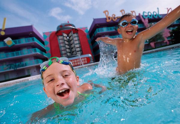 Disney's Pop Century Resort Guests at Pool