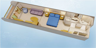 Disney Wonder and Disney Magic Deluxe Family Oceanview  Stateroom with Verandah - Disney Cruise Line