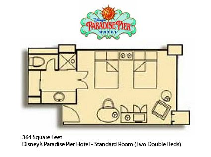 Disney's Paradise Pier Hotel Standard Room Layout
